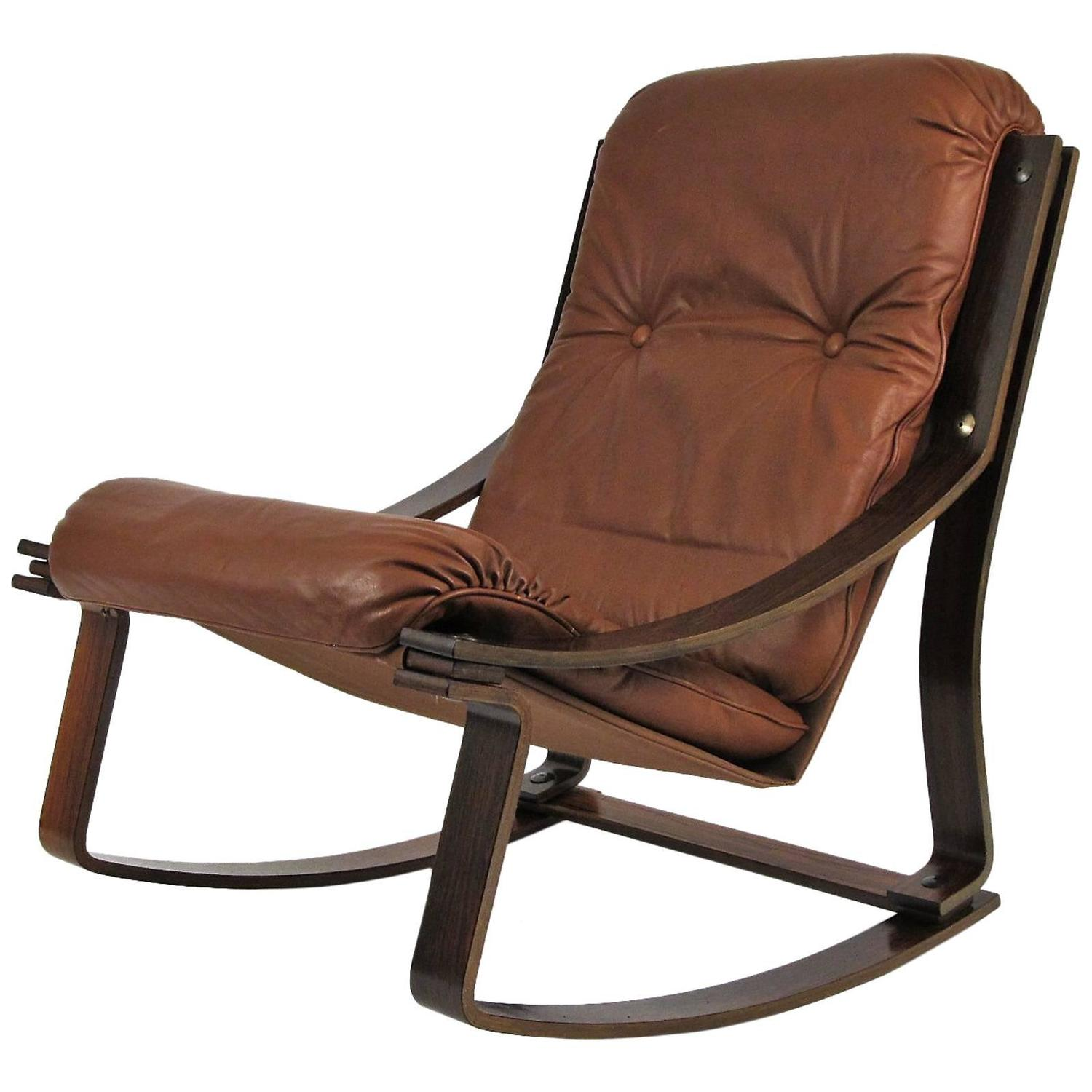 rocking chair leather and wood desk dublin rosewood westnofa norwegian at