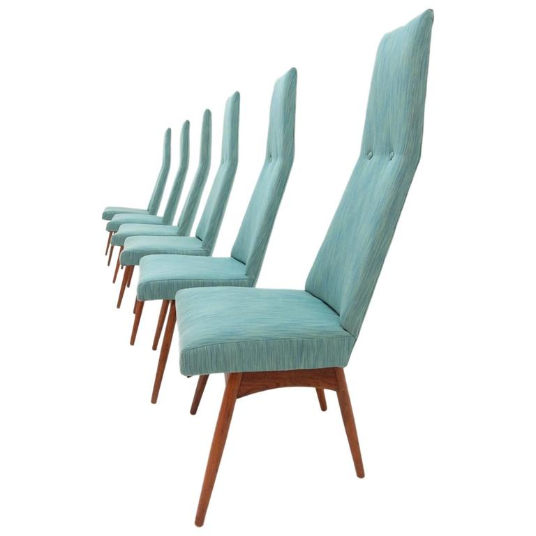 tall back dining chairs travel shower chair mid century modern adrian pearsall set of six for sale