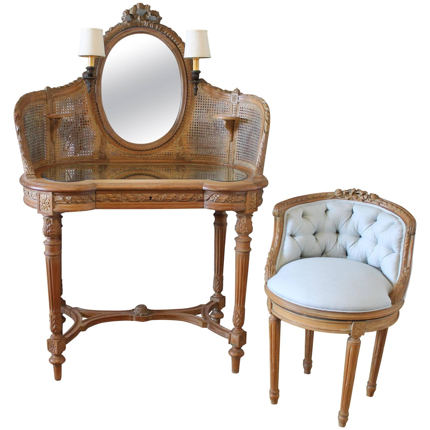 antique vanity chair design architects 19th century french walnut cane and linen