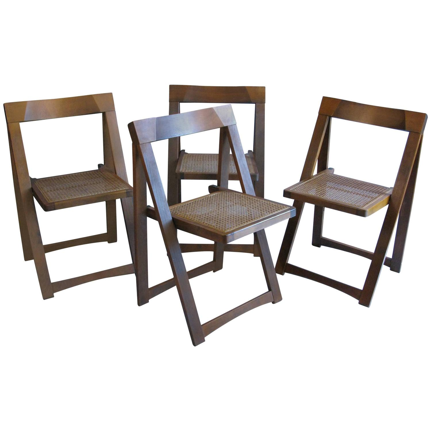 yugoslavian folding chair costco stadium set of four mid century walnut chairs with caned