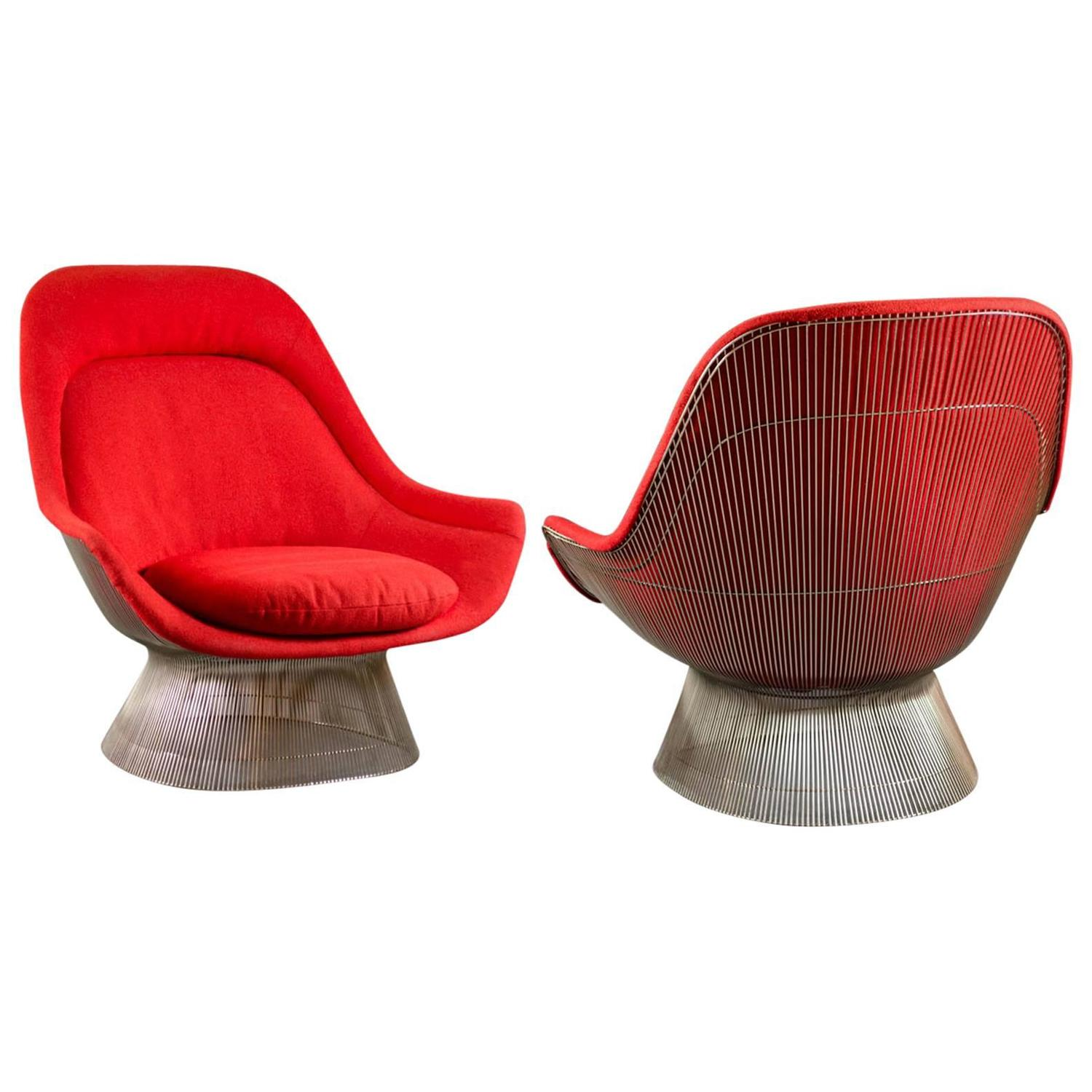 steelcase sofa platner saddle leather pair of lounge chairs by warren for knoll sale