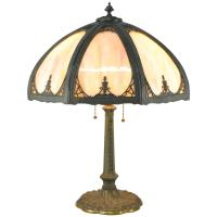 Slag Glass Bent Panel Table Lamp by Miller Lamp Company at ...