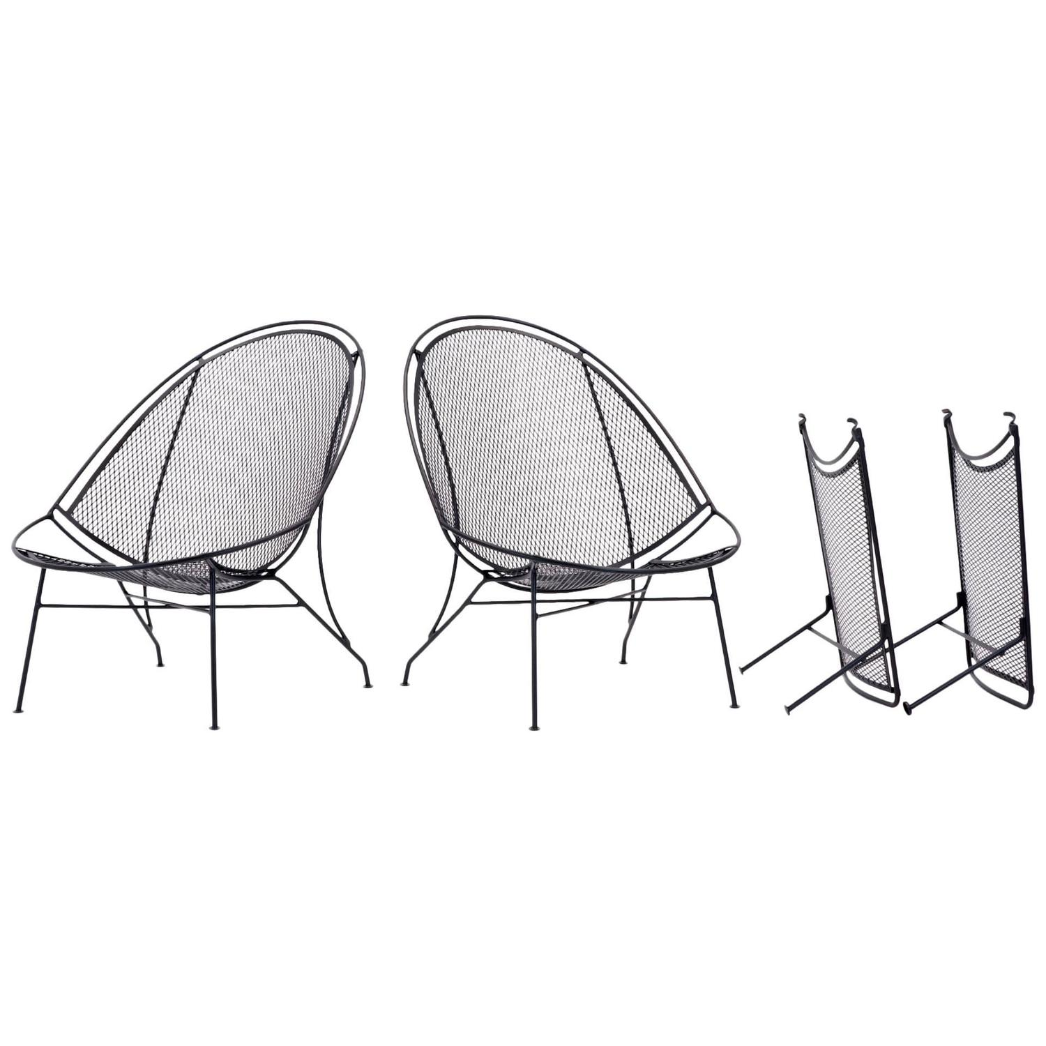 patio chairs with footrests chair steel folding rare pair of john salterini chaise lounge