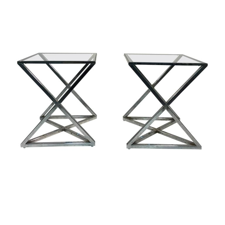 zac swivel chair wicker with cushions magnificent pair of milo baughman chrome x-base side or end tables at 1stdibs
