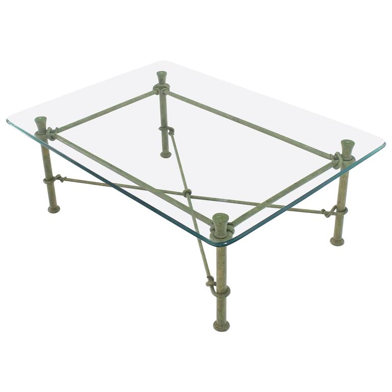 rectangle wrought iron base glass top coffee table