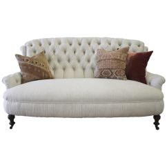 Belgian Linen Sofa Regency Table Price 19th Century English Tufted In At 1stdibs