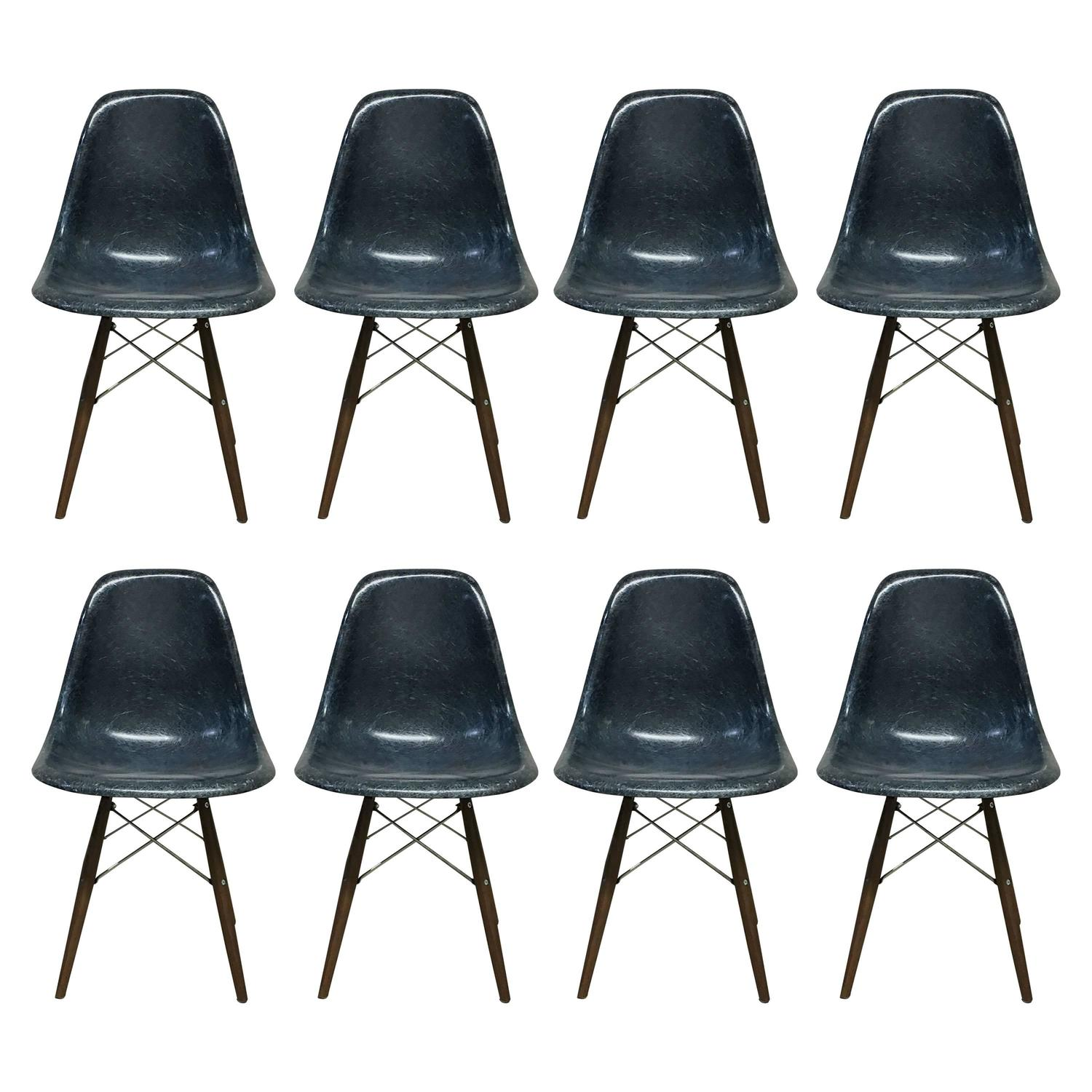 navy blue dining chair makeup and table set of eight herman miller eames chairs