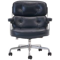 Grey Leather Desk Chair Death In Electric Eames Time Life Management Deep Blue Gray