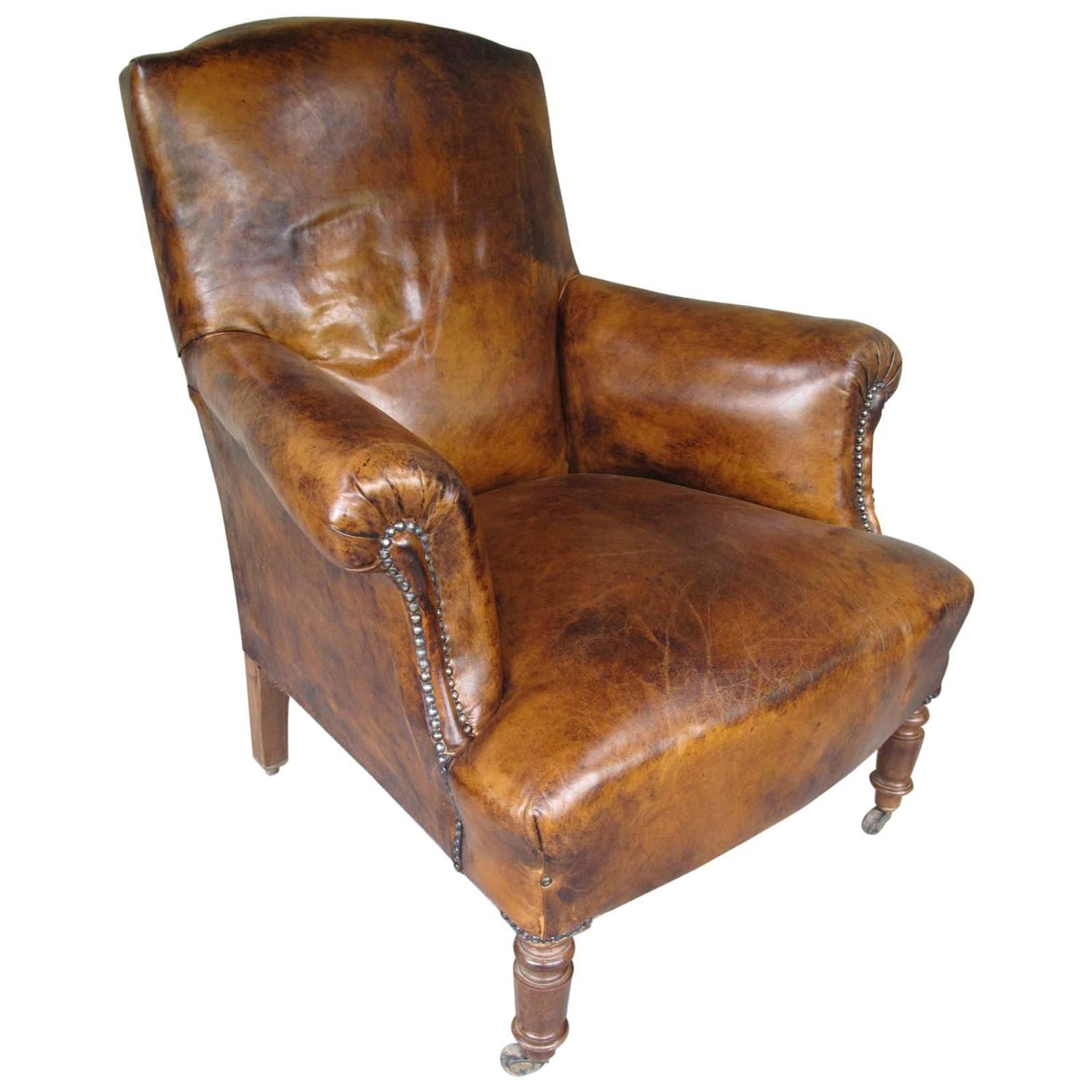 Leather Arm Chairs Antique French Armchair In Leather At 1stdibs