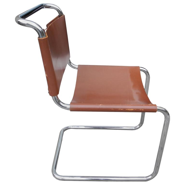 leather chair modern massaging pad bauhaus design cantilevered tubular metal and saddle by mart stam for sale