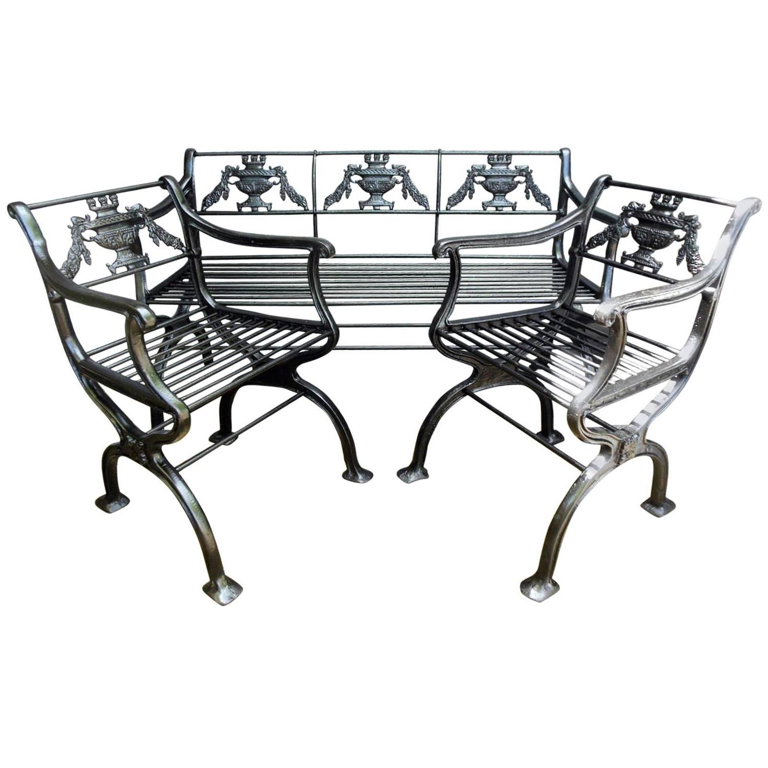 antique cast iron garden table and chairs black eames chair replica regency set bench for