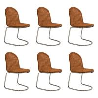Set of Six French Mid-Century Wicker and Chrome Chairs at ...