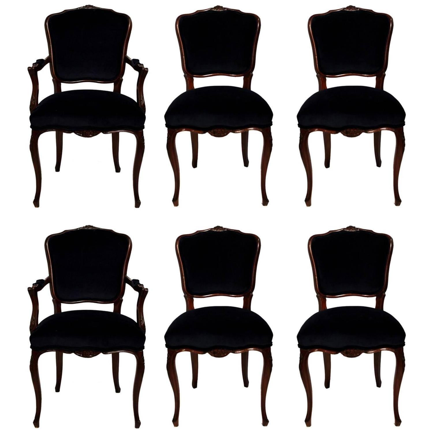 Navy Dining Room Chairs Six Dining Room Chairs With Navy Velvet And Damask Fabric