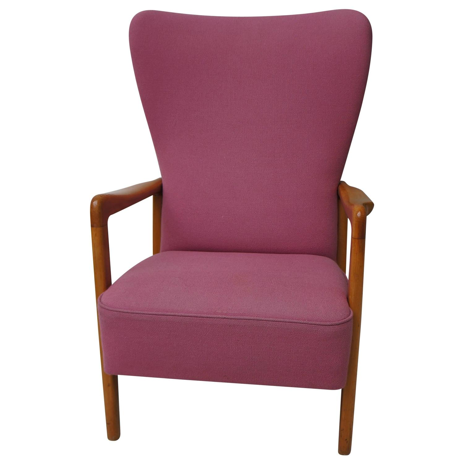 pink club chair tufted recliner scandinavian danish modern wooden armlegs upholstery