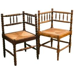 Wooden Corner Chair My Little Lamb Near Pair Of Vintage Bobbin Style Rush Seat Chairs At 1stdibs For Sale