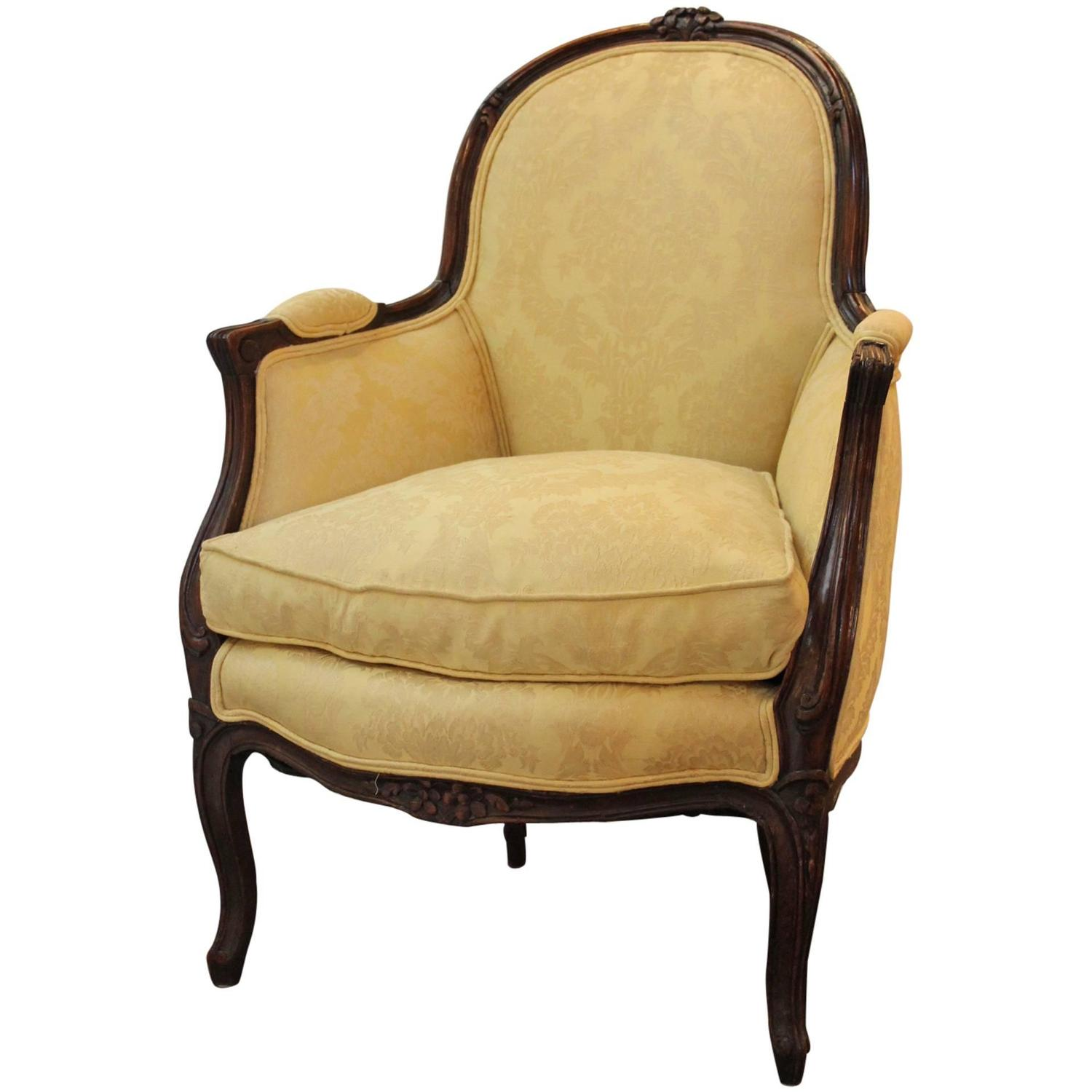 Antique Carved Oak French Bergere Chair For Sale at 1stdibs
