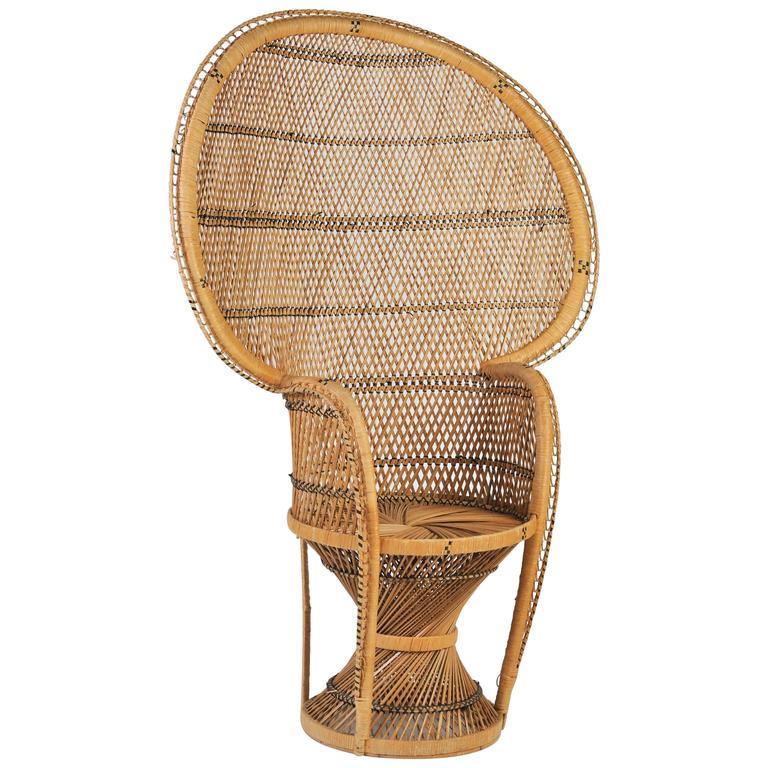 Large Vintage Bohemian 1970s Wicker EmmanuelPeacock Chair