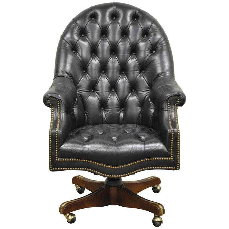 black leather desk chairs chair doesn't stay up vintage deep tufted english chesterfield style office for sale
