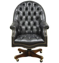deep tufted black leather english chesterfield style rolling office desk chair for sale at 1stdibs [ 3000 x 3000 Pixel ]