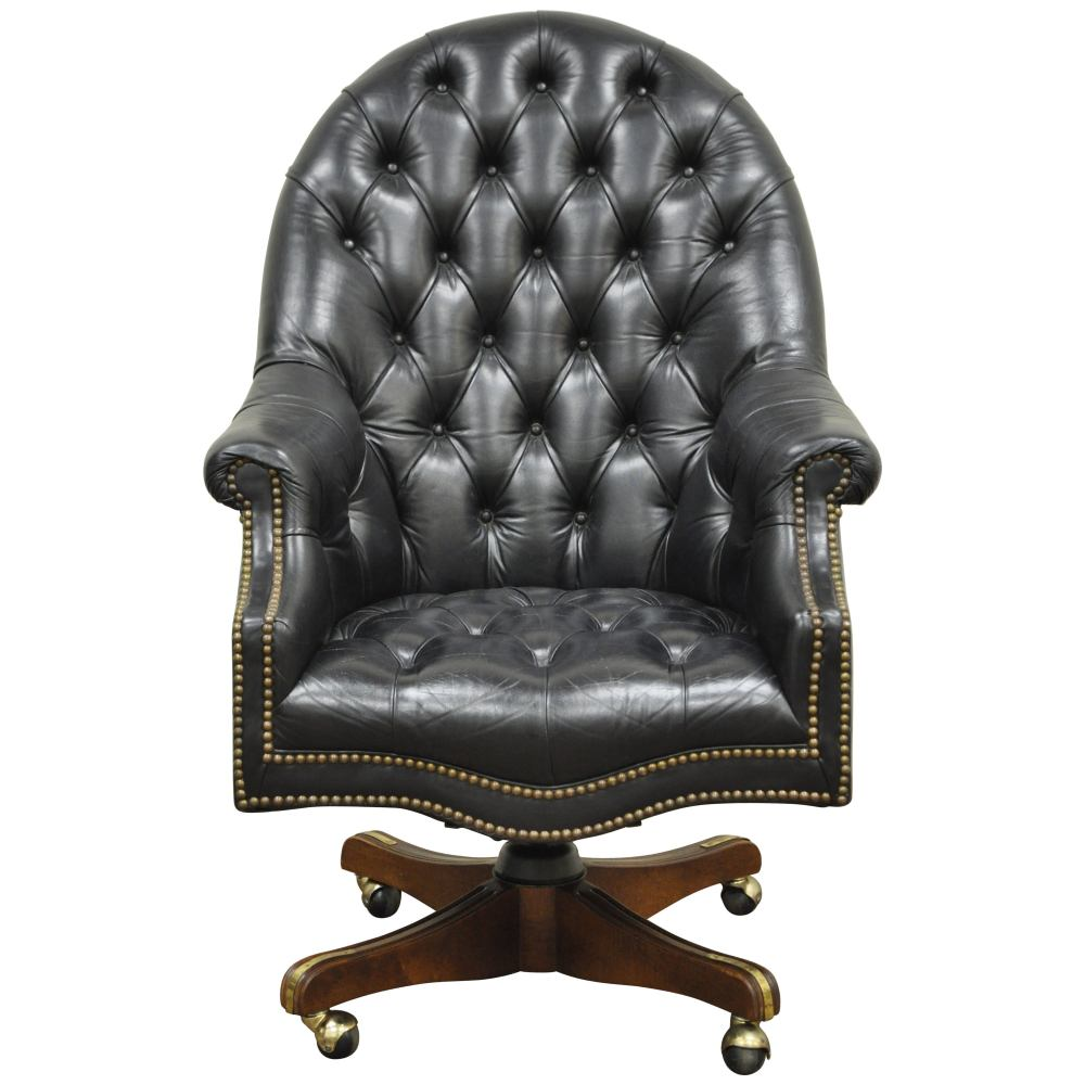 medium resolution of deep tufted black leather english chesterfield style rolling office desk chair for sale at 1stdibs