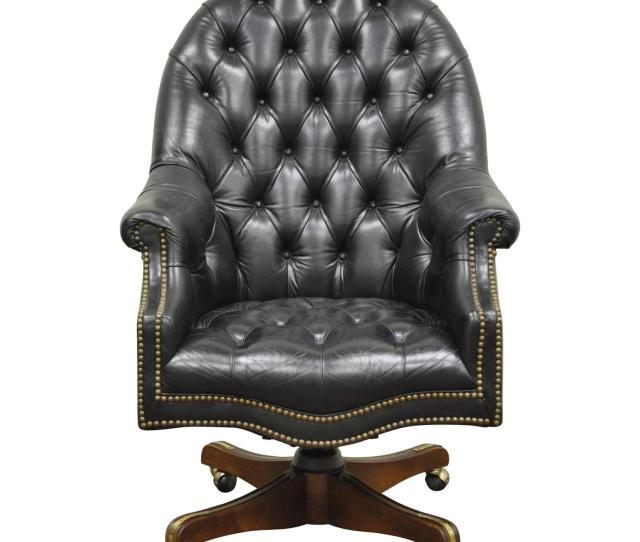 Vintage Deep Tufted Black Leather English Chesterfield Style Office Desk Chair For Sale At 1stdibs