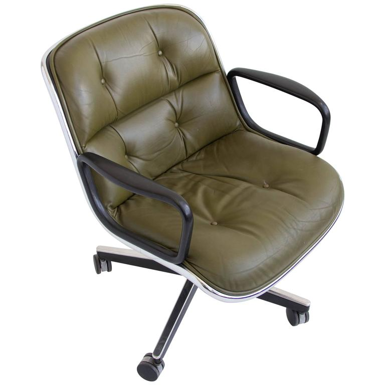 knoll pollock chair oversized club green leather office by charles for at 1stdibs