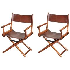 Bamboo Directors Chairs Chair One Stool Pair Of And Leather Circa 1960 At