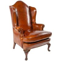 Superb Antique Walnut Leather Wingback Armchair, Mid-19th ...