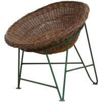 Jacques Adnet Style Woven Basket Chair at 1stdibs
