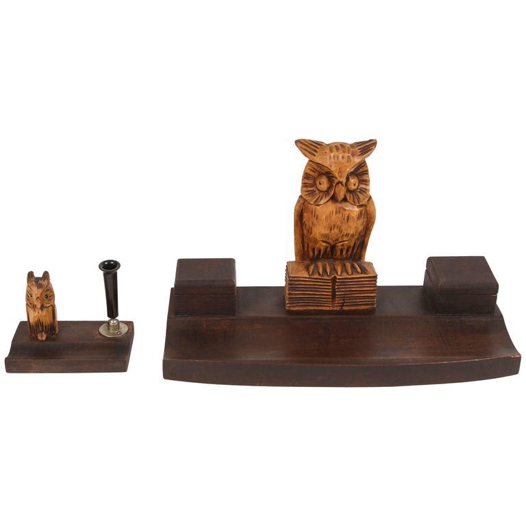 Black Forest Wood Owl Desk Set For Sale at 1stdibs