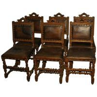Set of Six Antique Spanish Colonial Carved Oak and Leather ...