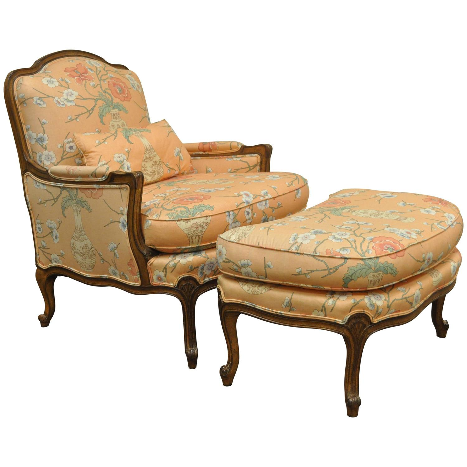 french provincial chair and ottoman original yankee stadium chairs 1950s country louis xv style shell carved bergere