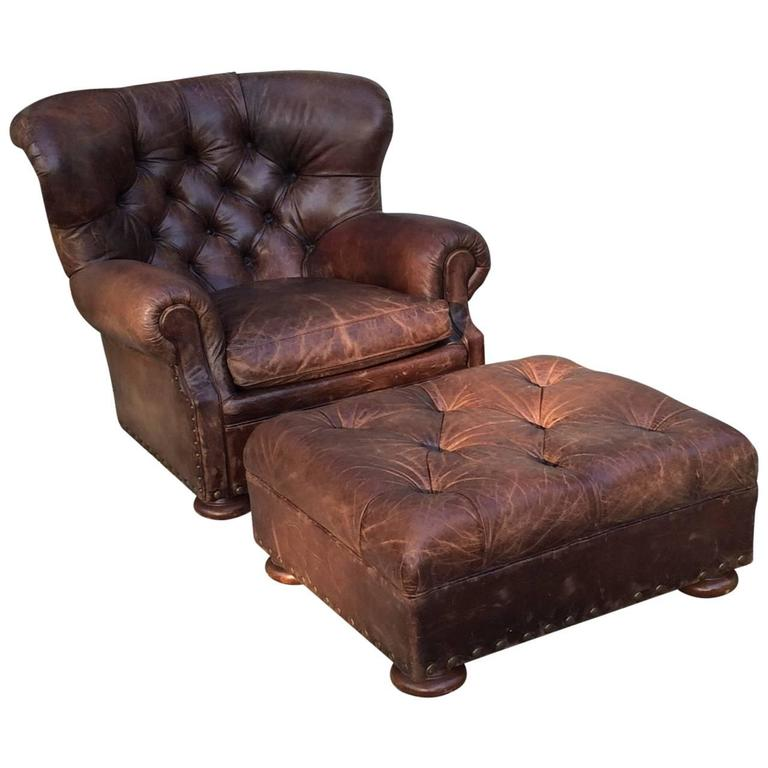 ralph lauren chair monogrammed childrens handsome large button tufted club and ottoman at for sale
