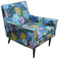 Blue Green and Pink Floral Mid Century Modern Lounge Chair ...