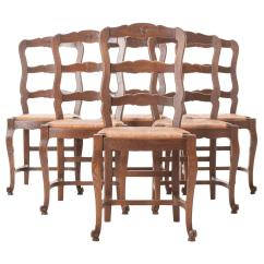 Ladder Back Dining Room Chairs Comfy For Toddlers Set Of Six French 1940s Oak