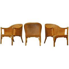 Bamboo Cane Back Chairs P Kolino Chair Set Of Three Mcguire Armchairs At 1stdibs