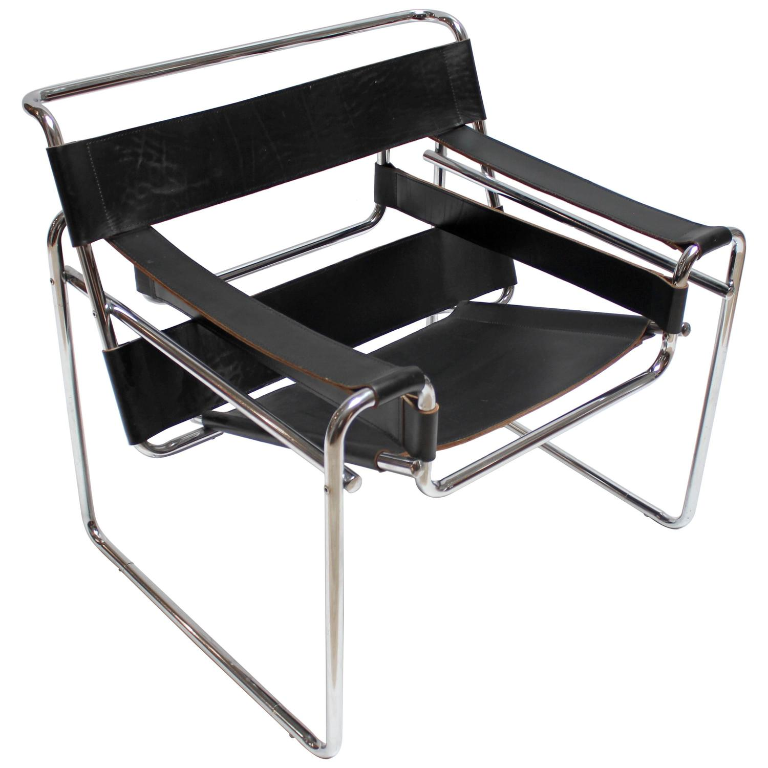 leather and chrome chairs dxracer computer chair vintage wassily by marcel breuer