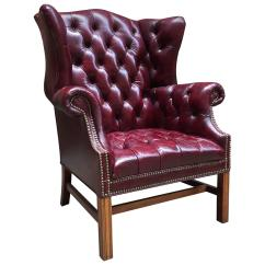 Tufted Leather Wingback Chair Yellow Upholstered Accent Cordovan Chesterfield Wing For Sale