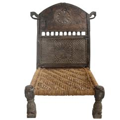 String Chair Seat Lounge Sex Antique Afghan Chieftain Ceremonial Hand Carved With