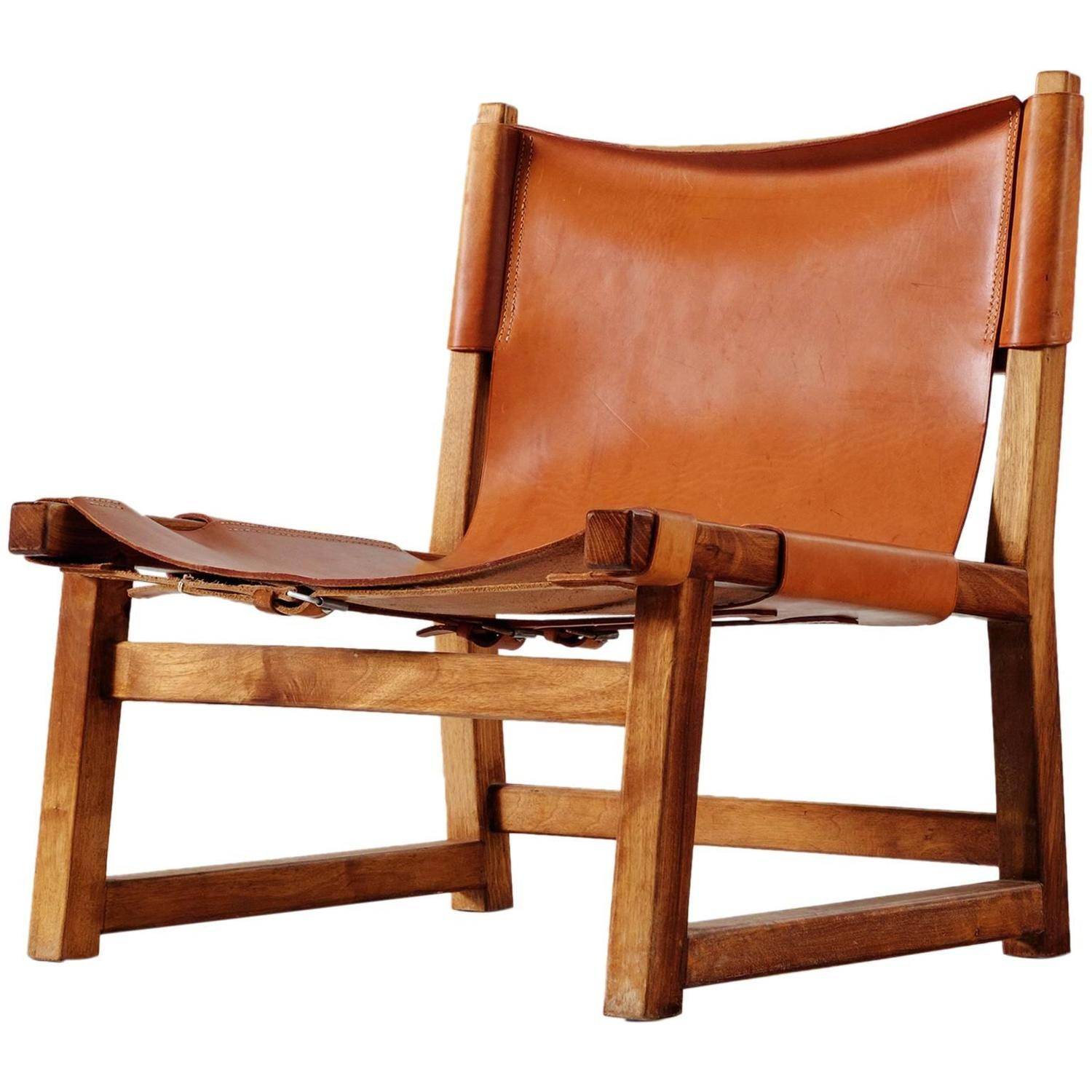swedish leather recliner chairs rv couches and scandinavian hunting chair in cognac for sale at