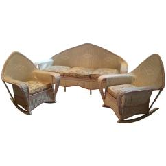 1930 Cane Back Sofa Sectional Pit Group Antique 1930s Wicker And Pair Of Chairs At 1stdibs