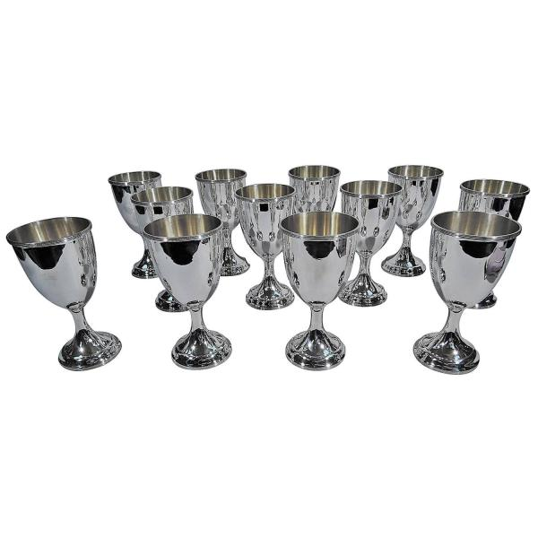Set Of 12 American Sterling Silver Goblets Schofield