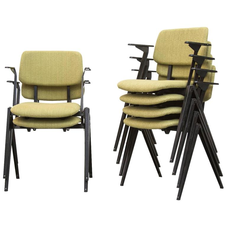 upholstered stacking chairs eames lounge chair craigslist set of six prouve style at 1stdibs for sale