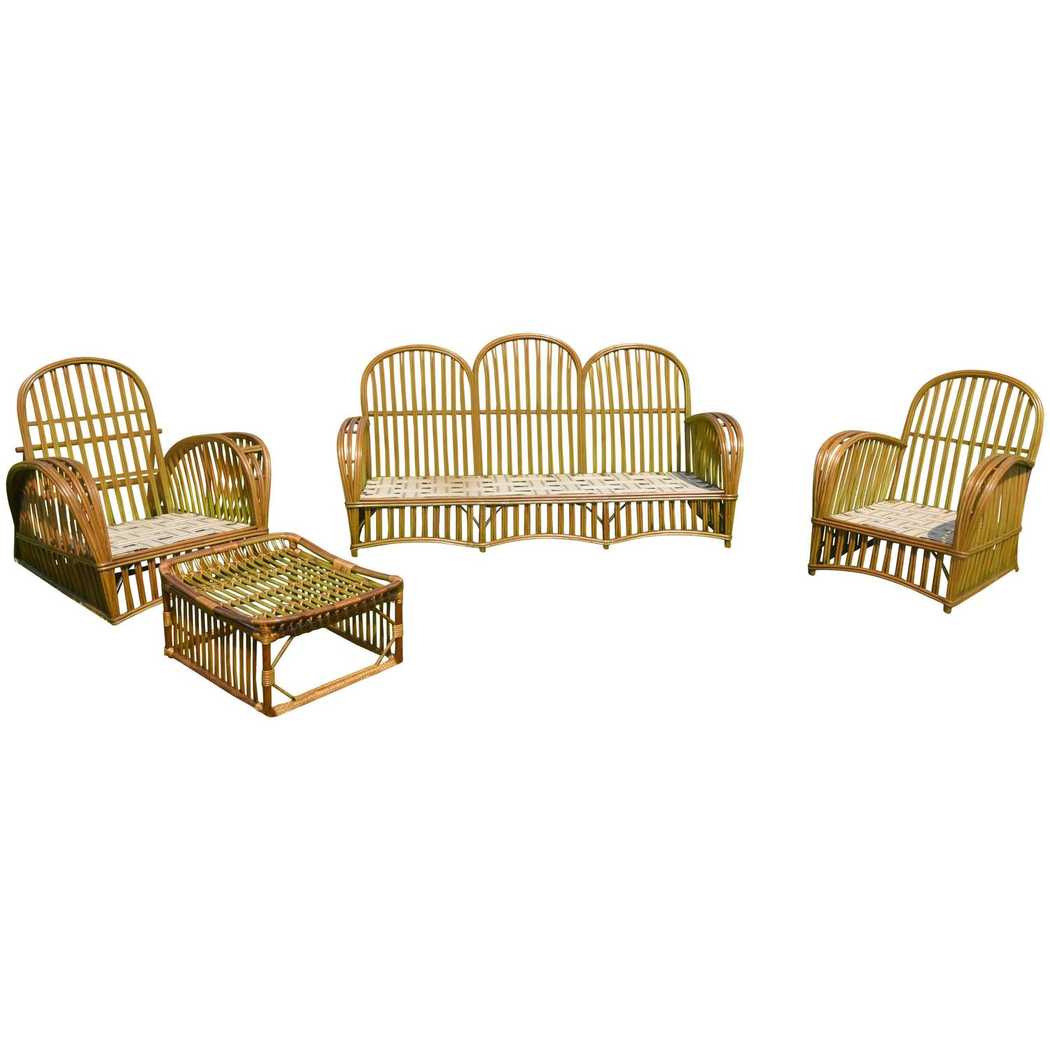 heywood wakefield wicker chairs folding cane chair antique stick set for sale at 1stdibs