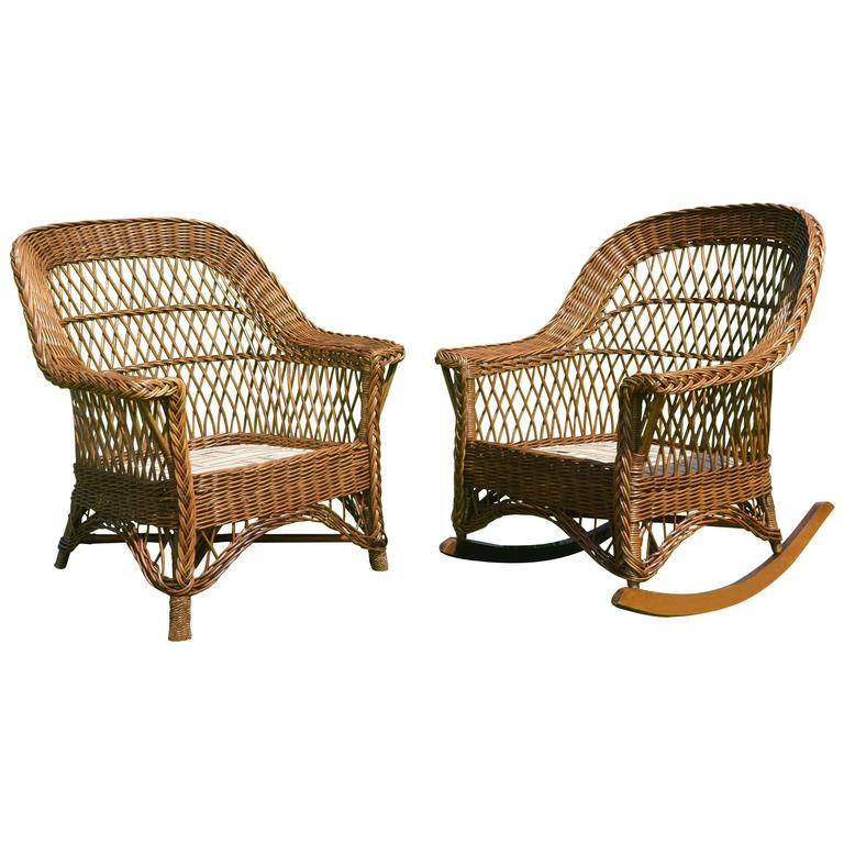 heywood wakefield wicker chairs office chair vector antique bar harbor and rocker set at for sale
