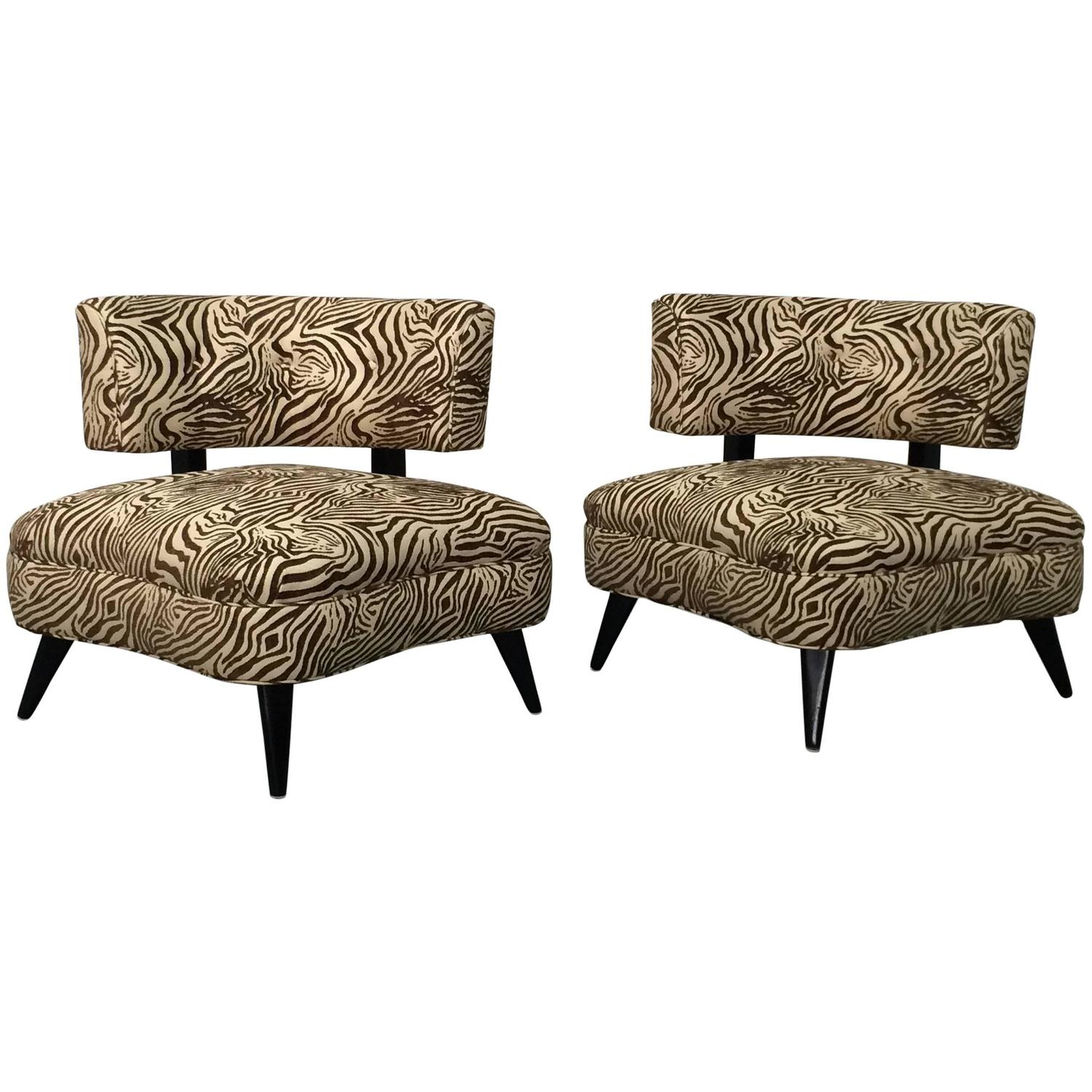 zebra print chairs for sale navy accent chair pair of 1950s retro in by furnish inc