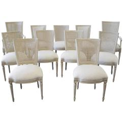 Antique Cane Dining Room Chairs Hula Chair Review Set Of 11 Painted Louis Xvi Style And
