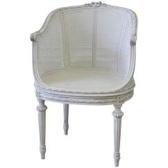 French Barrel Chair Calming Vibrations Baby Antique Louis Xvi Painted Cane With