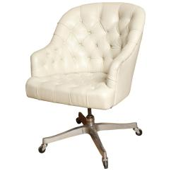 White Leather Computer Chair Single Fold Out Bed Signed Edward Wormley Desk For Dunbar