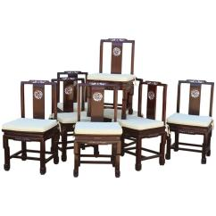 Antique Dining Chairs Value Stool Chair Size Chinese Rosewood And Mother Of Pearl Vintage Set Eight For